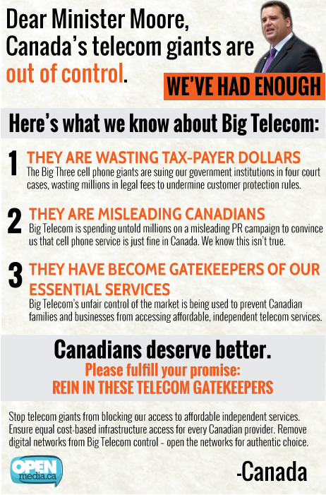 Minister Moore: Rein in Big Telecom
